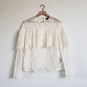 Who What Wear Lace Bohemian Ruffled Sheer Blouse